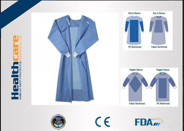 Blue Fluid Resistant Disposable Surgical Gowns EO Sterilize Reforced Chemotherapy Gown